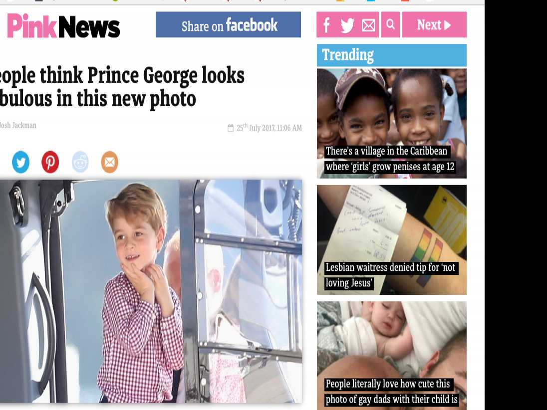 Irish Pol Calls LGBT Outlet's Article About 'Gay Icon' Prince George 'Outrageous and Sick'