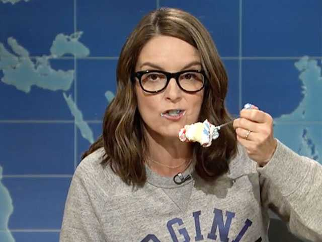 Watch: Stress-Eating Tina Fey Hopes a Bunch of Drag Queens Kick 'The Ham Salad' Out of Neo-Nazis