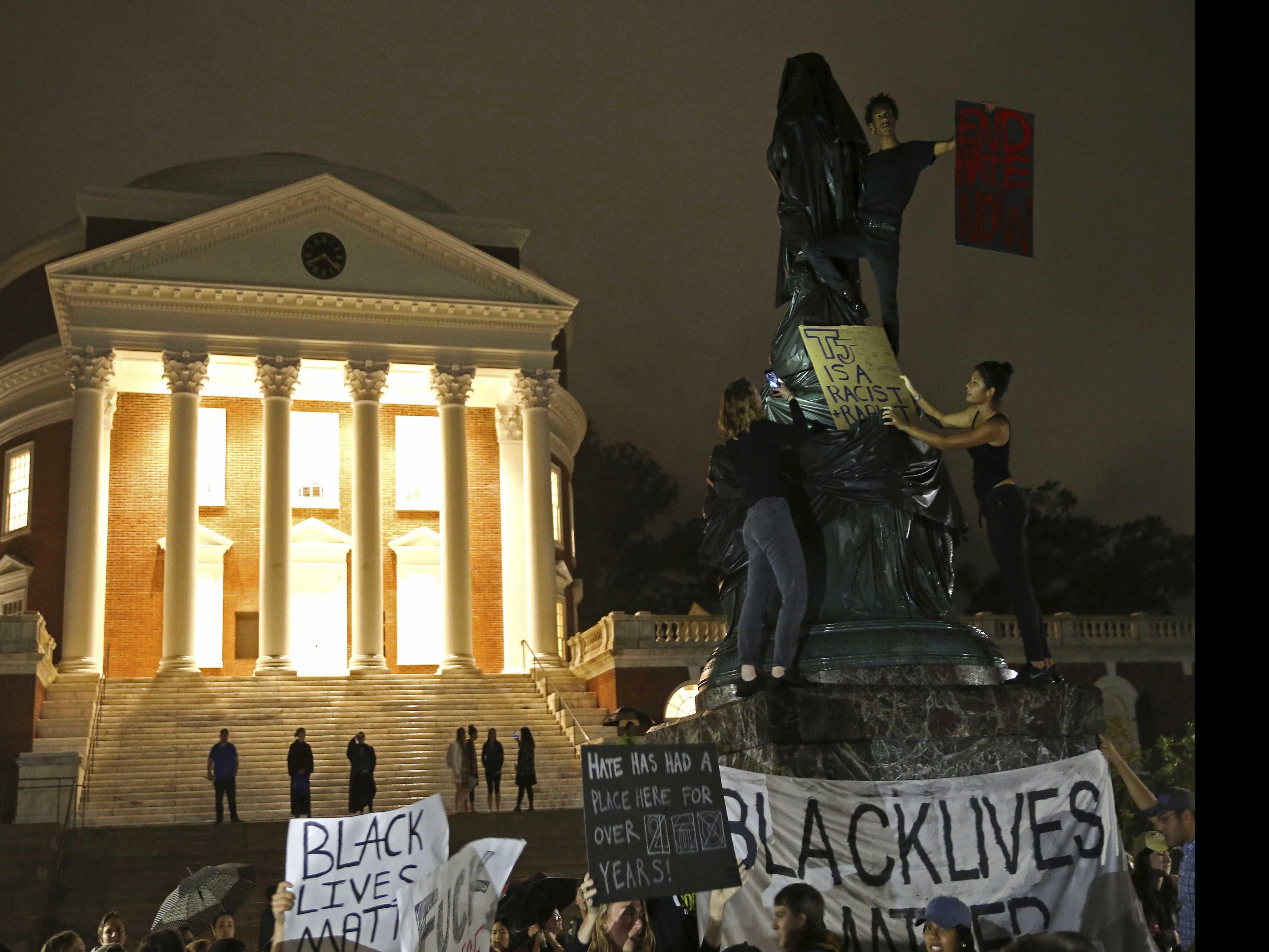 UVA President Criticizes Jefferson Statue Shrouding
