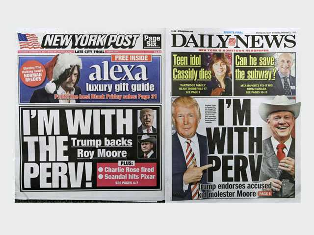 New York Tabs Share 'I'm With Perv' Headlines on Trump