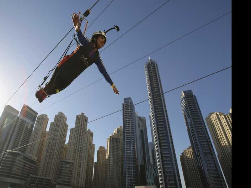 Dubai Unveils New Zip Line Among Towering Skyscrapers