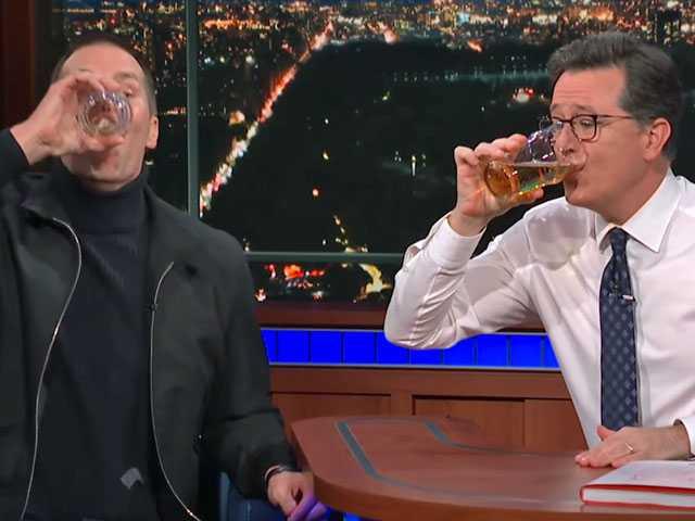 Watch: Beer Chug: Tom Brady Beats Stephen Colbert in Seconds Flat
