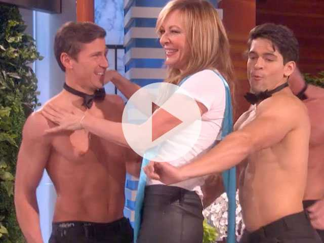 Watch: After Oscar Win, Allison Janney Dances with Shirtless Hunks on 'Ellen'