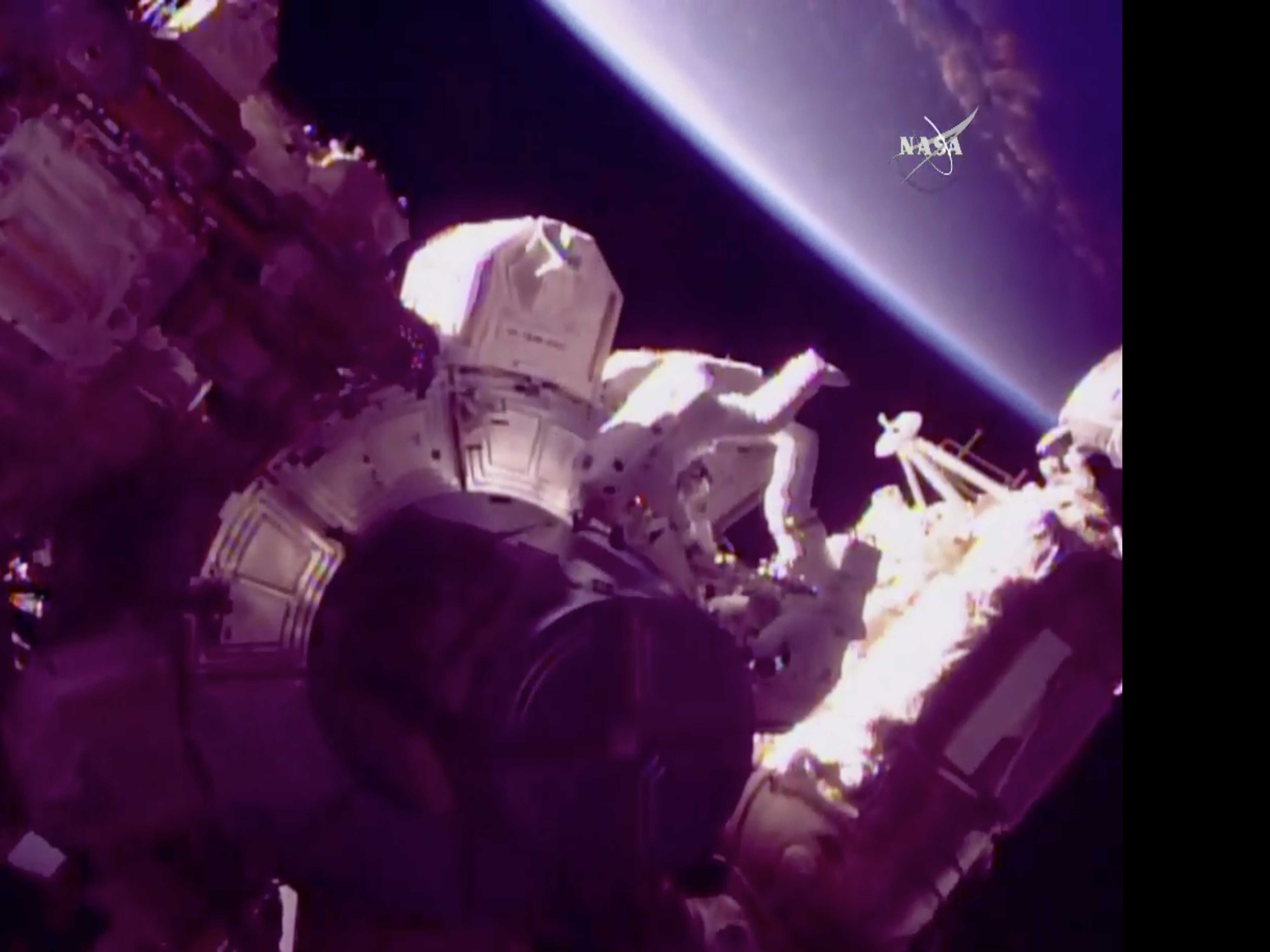 NASA Astronauts Go Spacewalking Days after Reaching Orbit