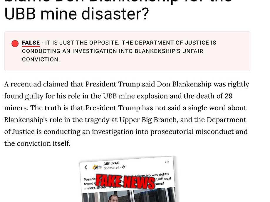 Ex-Coal Baron Blankenship Debuts 'Fact-Check' Campaign Site