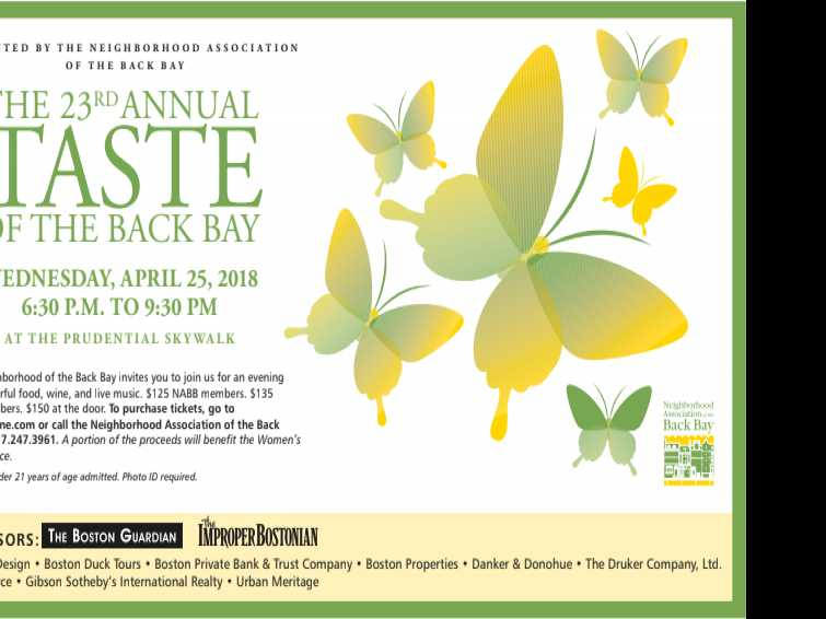 Back Bay Neighbors to Celebrate the 23rd Annual Taste of the Back Bay