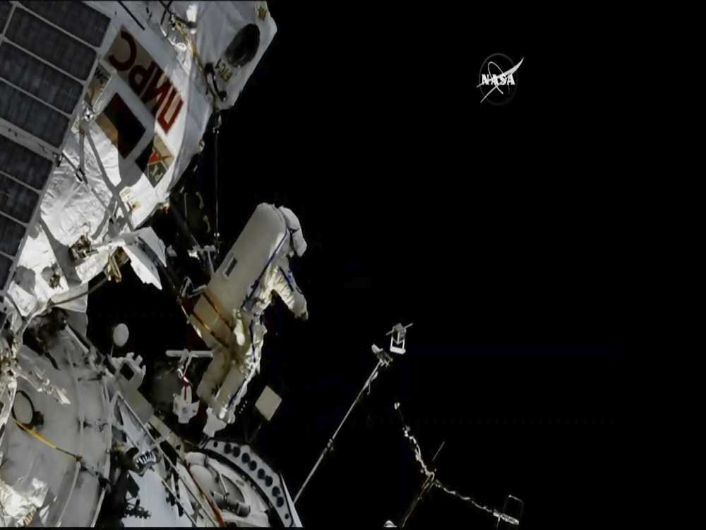 Spacewalkers Flinging Satellites, Installing Bird Trackers