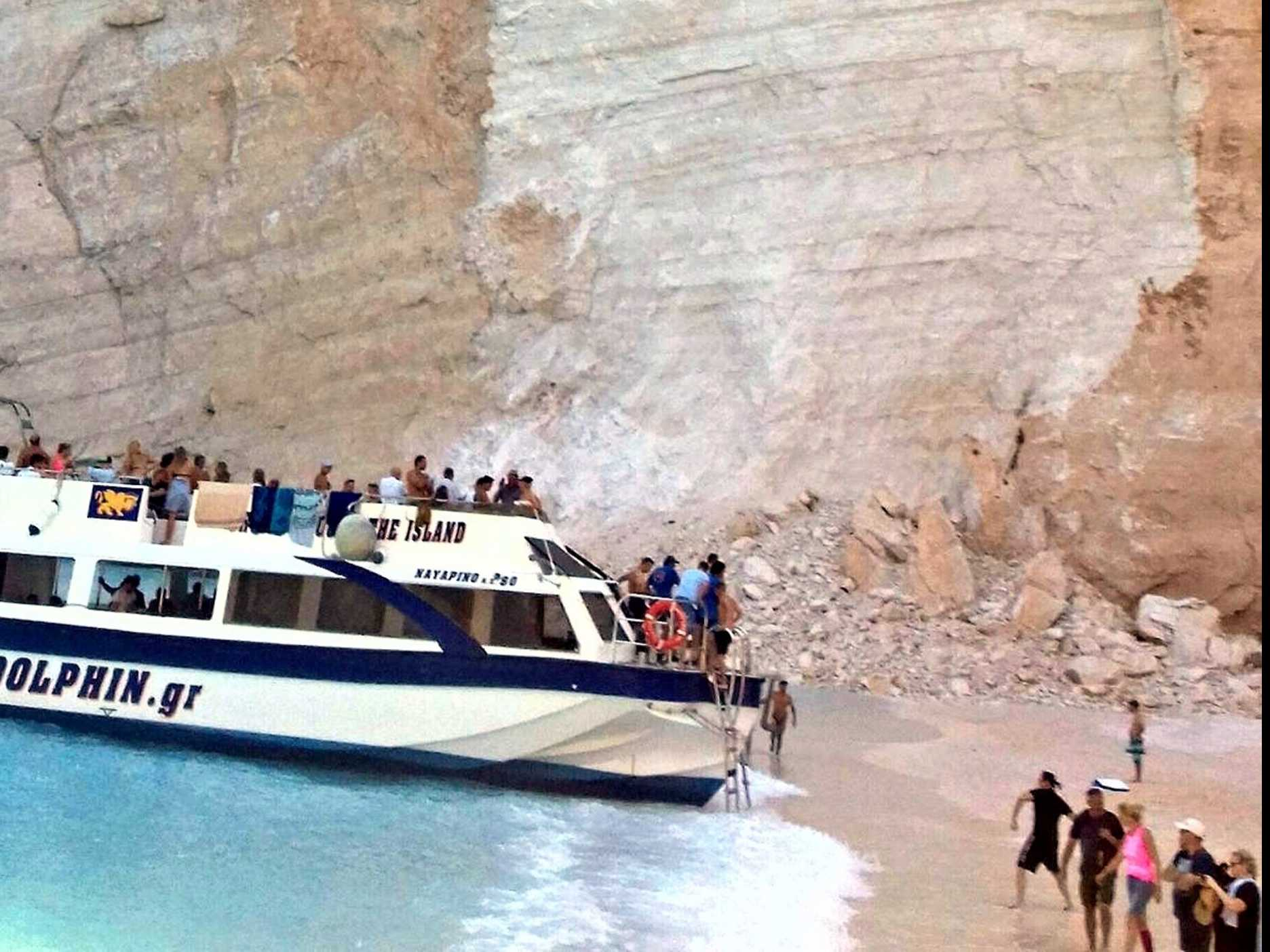Landslide at Greek 'Shipwrecked' Beach Injures 7