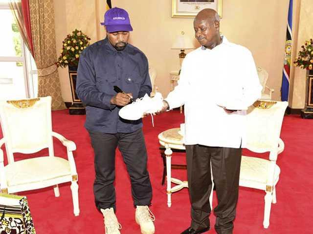 Kanye West Meets Uganda's President, Gifts Pair of Sneakers