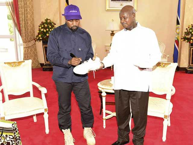 Kanye West Meets Uganda's President, Gifts Pair of Sneakers