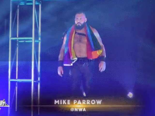 Watch: Out Pro-Wrestler Mike Parrow Wears Rainbow Pride Flag into Ring