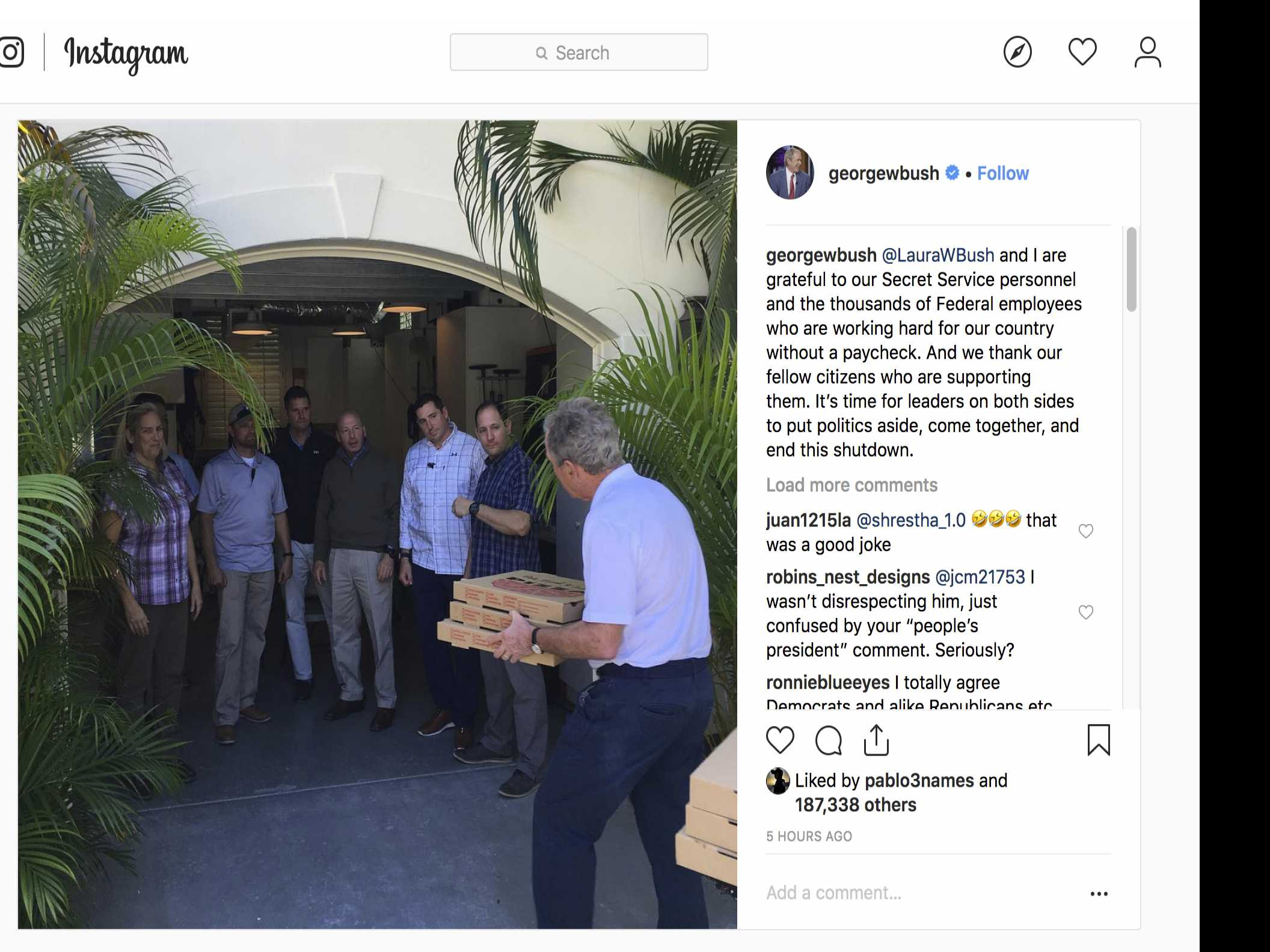 George W. Bush Treats Secret Service Detail to Pizza