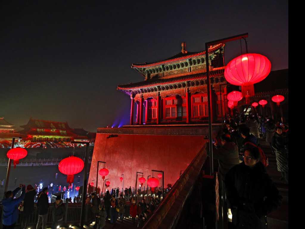 Beijing's Forbidden City Illuminated for Lantern Festival