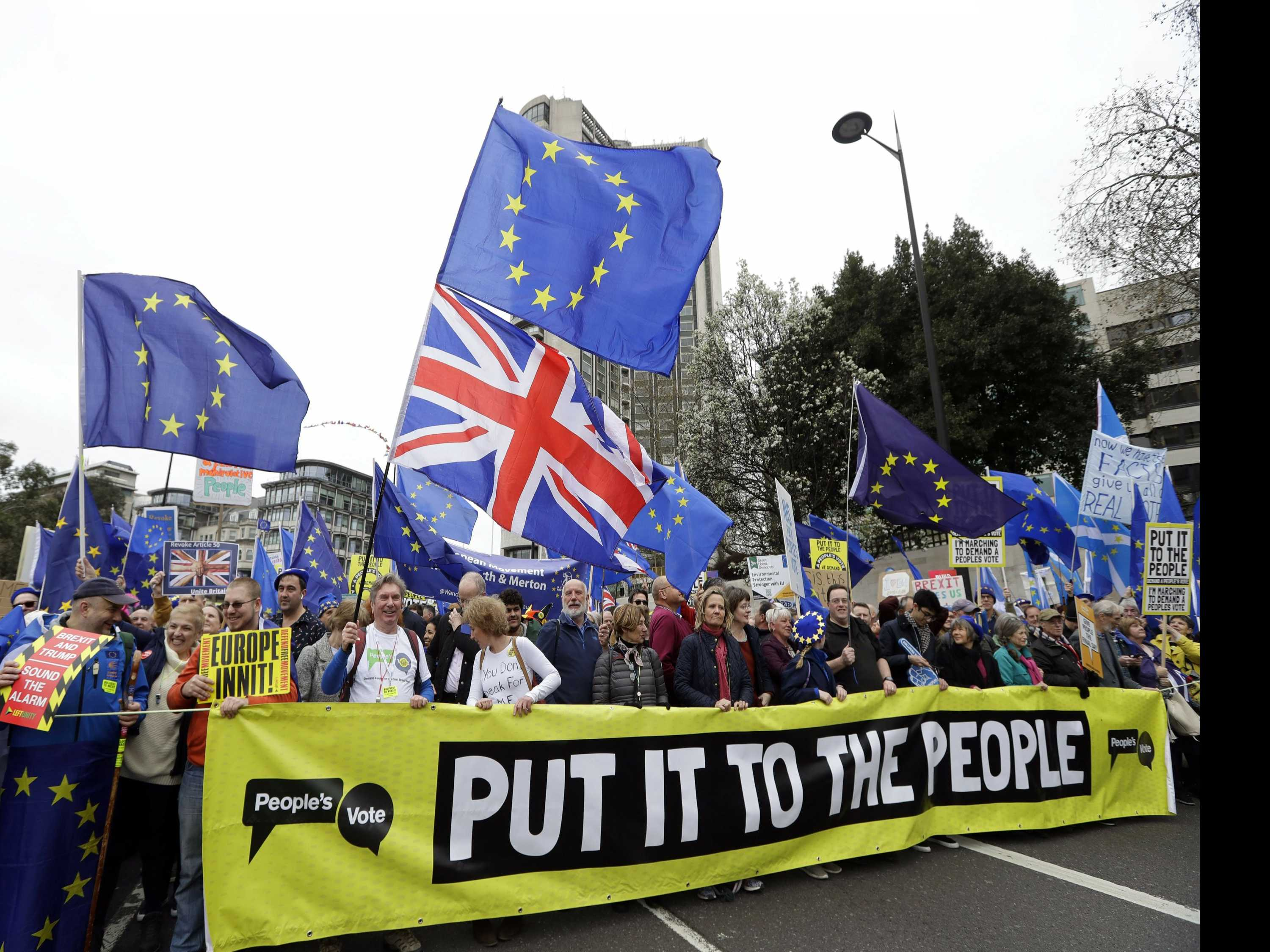 UK's Embattled Prime Minister Faces Huge Anti-Brexit March