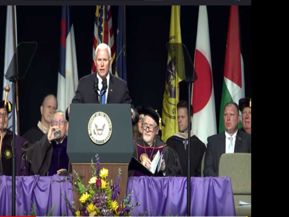 Taylor University students walk out before Mike Pence commencement address