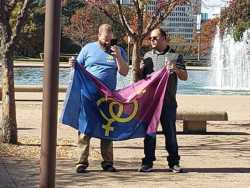 Dallas Straight Pride Flops with Crowd of Two