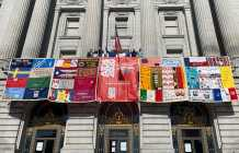 Quilt panels displayed as AIDS 2020 opens