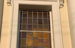 Stained-glass window broken at Castro Catholic church