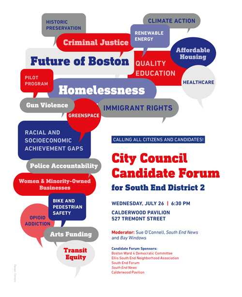 Tuesday night, District 2 City Council Candidates Forum at Calderwood Pavilion