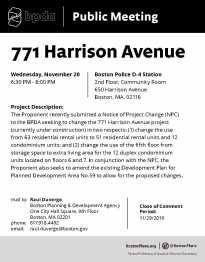771 Harrison Avenue Public Meeting